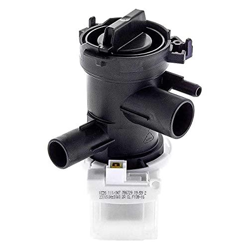 MIRTUX Bomba de desagüe para lavadora Bosch,Balay y Siemens. Potencia: 30 W.Código original: 145212