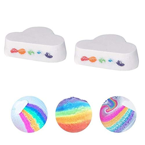 Rainbow Bath Bombs Gift Set 2PCS Handmade Cloud Bath Bombs with Natural Ingredients Essential Oils Spa Bath Fizzies for Moisturizing Skin Mother's Day Birthday Gift for Women Moms Girlfriends Kids