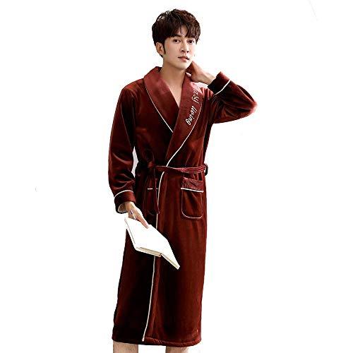 Tokyia Mantener caliente Los hombres del invierno de la franela gruesa bata larga polar de coral pijamas del traje caliente grueso Albornoz de gran tamaño Spa felpa camisón Kimono Homewear Escudo, XXL