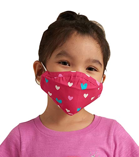 Hatley Kids' Double Layer Face Mask with Ear Elastic, Lovely Hearts, One Size