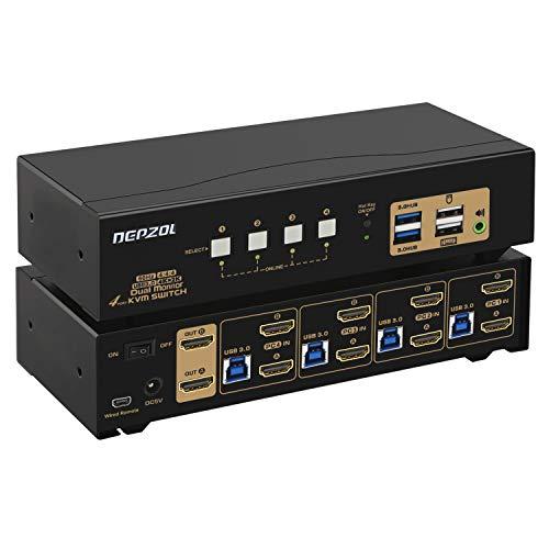 DEPZOL 4 Port USB 3.0 KVM Switch Dual Monitor HDMI 4K 60Hz Tastatur Video Maus Peripheriegeräte Switch für 4 Computer 2 Monitore mit Kabel und Audio