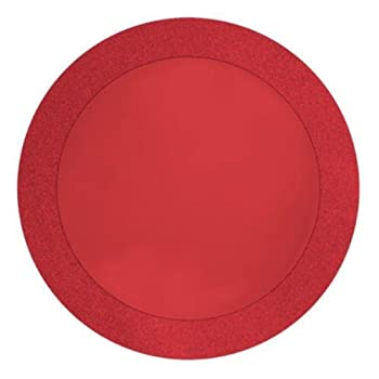 8-Count Round Paper Placemats with 2  Glitter Border Glitz Red