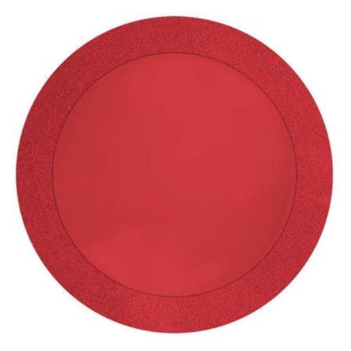 Creative Conversion Glitz Rouge Rond Papier Sets de Table avec Paillettes 5,1 cm Bordure, 8 Fils