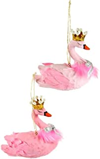Cody Foster & Co Feathered Pink Swan Wearing Crown Glass Hanging Ornament