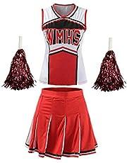 Traje Cheerleading 1set Camisa Sin Mangas Plisado con Mini Falda Fijaron El Equipo Rojo Y Blanco S
