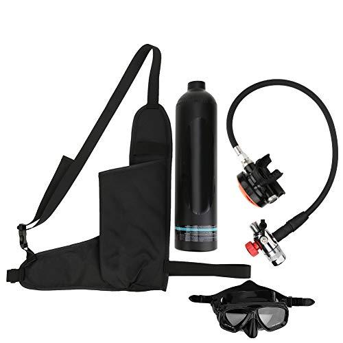 Denkerm Cilindro de Buceo, Equipo de Buceo Mini de 1 l con Tanque de Aire de Buceo Equipo de Buceo portátil con Capacidad de 15 a 20 Minutos Dispositivo de respiración subacuática(Negro)