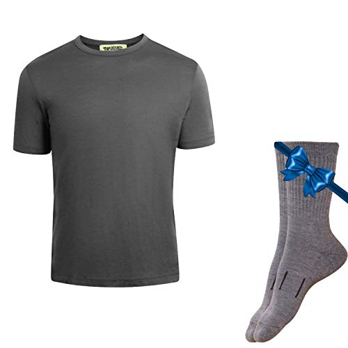 Merino.tech 100% NZ Organic Merino Wool Lightweight Men's T-Shirt + Merino Wool Hiking Socks Bundle | Short Sleeve Crew Tee | Moisture Wicking | No Odor | UPF 25 (Medium, Grey)