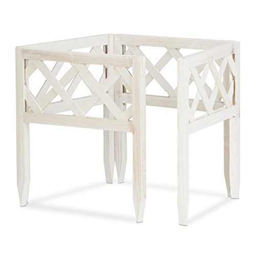 Relaxdays Steckzaun Holz 4er-Set, Gartendeko, niedrige Beeteinfassung & Zierzaun, Erdspieße, erweiterbar, 30x30cm, weiß