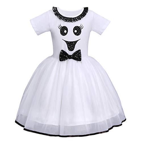 FYMNSI - Costume da principessa in tulle con zucca, per Halloween, per feste di carnevale, cosplay, per 6 mesi - 6 anni Bianco + Black Smile Ghost Face 2-3 Anni