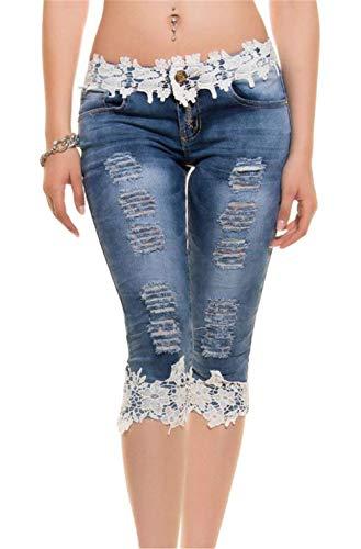 Adelina Damen Frauen Boyfriend Gewaschen Schnitt Cher Löcher Slim Fit Zerrissenen Spitze Denim Capri Hosen Jeanshosen Jeans Denim (Color : Weiß, Size : 38)