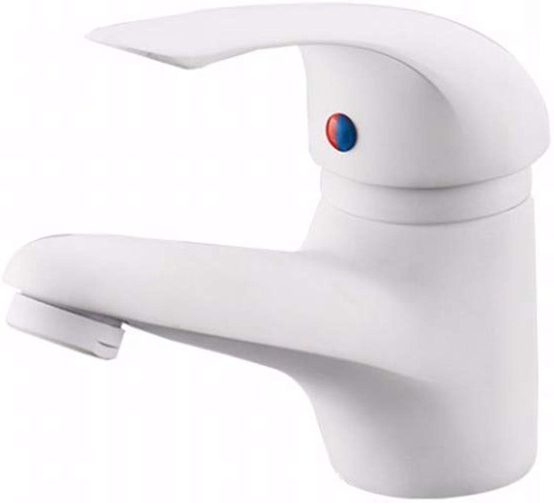 Household single hole faucet paint matte white copper modern basin faucet