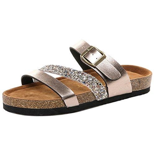 Minetom Zapatillas de Estar por casa de Hombre y Mujer, Tira Ancha, Sandalia Tipo Chancla Verano Gold 01 EU 37
