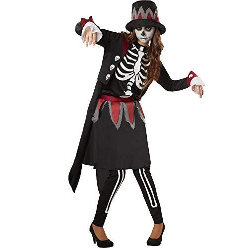 dressforfun 900510 - Déguisement pour Femme, Dame Squelette effrayante, Haut sans Manches à Lacer au Niveau de la Nuque (M   No. 302413)