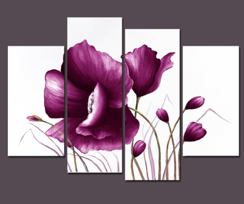 Wieco Art Purple Plum Flowers Canvas Prints Wall Art Decor for Living Room Bedroom Home Decorations Large Modern 4 Piece Gallery Wrapped Giclee Decorative Pretty Floral Picture Paintings Artwork L