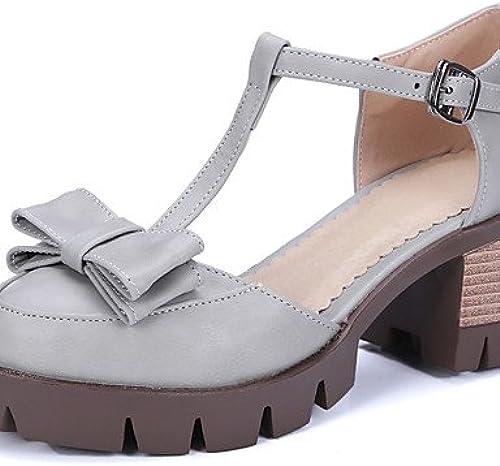 GGX  chaussures chaussures chaussures pour femmes PU été   confort talons extérieur   Décontracté chunky talon bowknot   boucle noir   marron   gris 87f