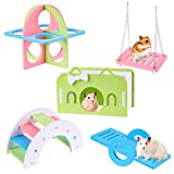 Ameliade Hamster Toys, Dwarf Hamsters Cage Accessories, Gerbil House and Hideouts, Sugar Glider Toys Set Real Hamster Bridge Rats Seesaw Pet Mouse Swing Small Animals Exercise Fitness Circle(5pcs)