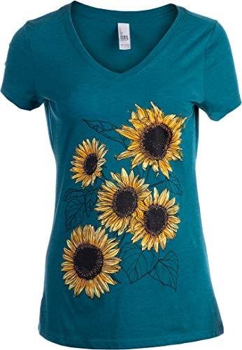 Sunflower Sketch   Blooming Flowers Garden Floral Art Gardening V-Neck T-Shirt for Women-(Vneck,XL)