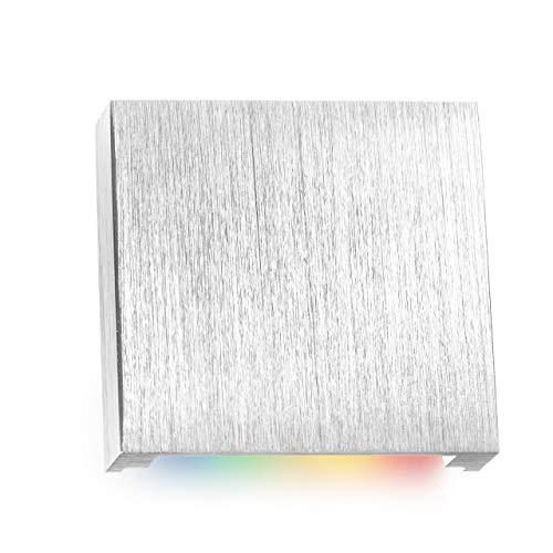 RGB LED Treppenbeleuchtung aus Aluminium in eckig für Schalterdoseneinbau 60/68mm - 11 Farben + Kaltweiß + dimmbar