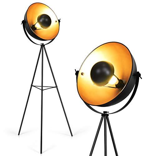 COSTWAY Stehleuchte Tripod Vintage, Moderne Metall-Standleuchte mit verstellbarem Schirm, Leuchte E27, Stehlampe 160cm für Zuhause und Studio