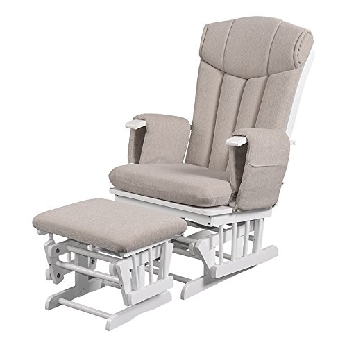 Chatsworth Nursing Glider and Footstool (Cappuccino) - Breastfeeding Chair, Lounge Chair, Smooth Gliding Motion, Easy to Assemble, Solid Hardwood Base