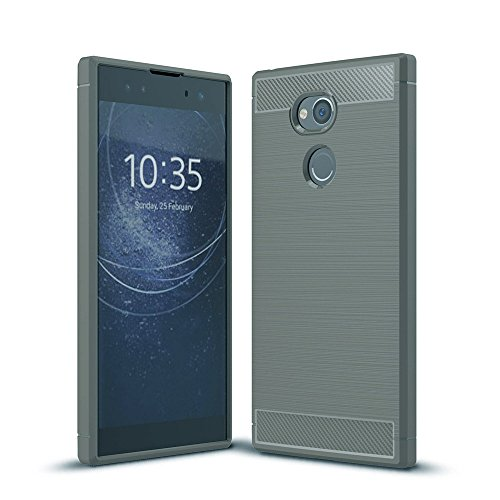 GOGME Sony Xperia XA2 Ultra Hülle, Silikon TPU Schale [Carbon Fiber Series] Flexibles TPU Anti-Scratch Super Weiche Schutzhülle für Sony Xperia XA2 Ultra, Grau