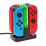 Joy Con Charging Dock for Nintendo Switch by TalkWorks | Docking Station Charges up to 4 Joy-Con Controllers Simultaneously - Controllers NOT Included (LED)