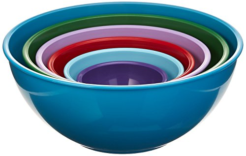 Gourmet Home Products 6 Piece Nested Polypropylene Mixing Bowl Set, Light Slate