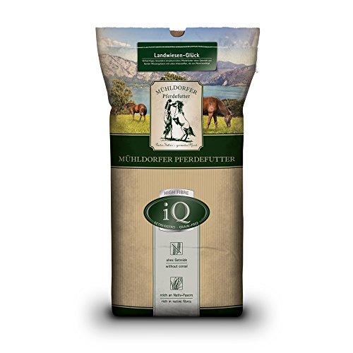 Mühldorfer IQ Landwiesen-Glück, 12,5 kg, mangime per Cavalli Senza Cereali, Senza melassa, strutturalmente Ricco, per Tutti i Cavalli e Pony