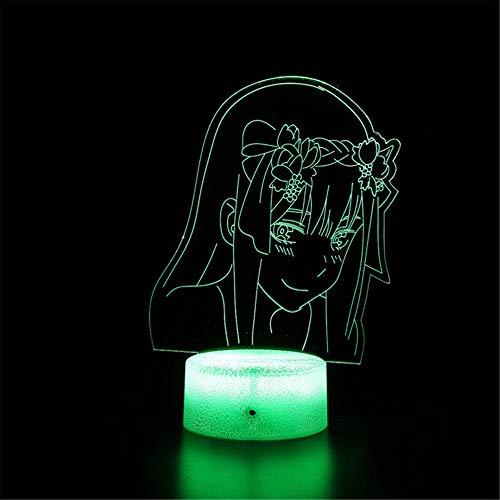 Darling in The FRANXX B 3D Visuelle Lampe 3D Nachtlicht 16 Farbwechsel Dekor Lampe - Perfektes Geschenk für Kinder und Zimmer Dekor