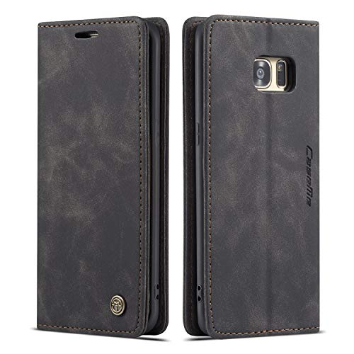 QLTYPRI Hülle für Samsung Galaxy S7 Edge, Vintage Dünne Handyhülle mit Kartenfach Geld Slot Ständer PU Ledertasche TPU Bumper Flip Schutzhülle Kompatibel mit Samsung Galaxy S7 Edge - Schwarz