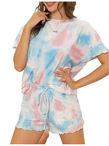Ever-Pretty Tie-Dye Conjunto de Pijama Mujer Camiseta y Pantalones Cortos Casuales Verano Azul Rose S