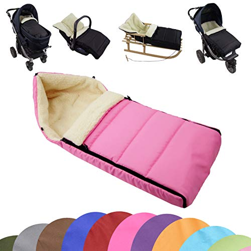 BAMBINIWELT universaler Winterfußsack (90cm), auch geeignet für Babyschale, Kinderwagen, Buggy, aus Wolle UNI liniert (rosa)