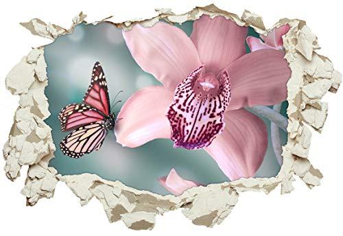 Unified Distribution Schmetterling auf Orchidee - Wandtattoo mit 3D Effekt, Aufkleber für Wände und Türen Größe: 92x61 cm, Stil: Durchbruch