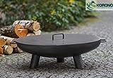 Korono Feuerschale Feuerschüssel mit Griff & Deckel 60 cm auf 3 Beinen - Lagerfeuer | mobiler Grill | stilvolle Beleuchtung