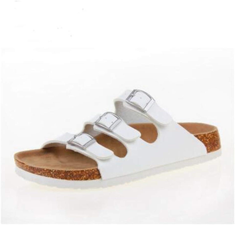 YaMiFan Womens Slides Flat Sandals Open Toe Three Buckle Strap Footbed Cork Sandal