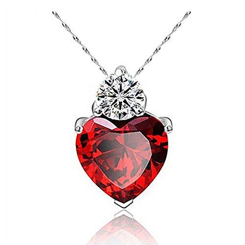 Fajewellery Collar Mujer Corazón Rojo/Purpura Circón Plata 925 Colgante Collares con Cadena 45cm Longitud
