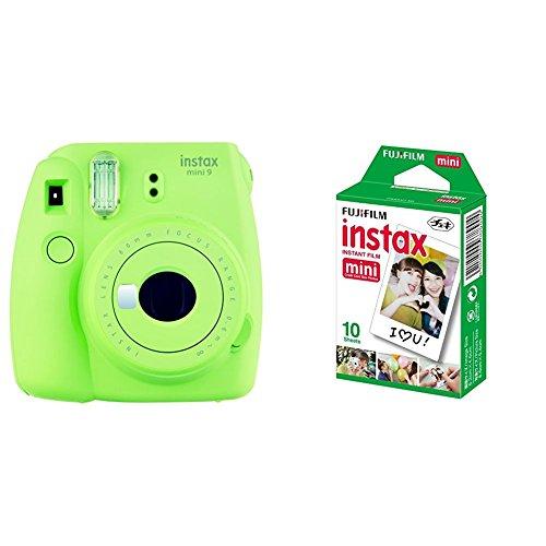 Fujifilm Instax Mini 9, Verde + 1 paquetes de películas fotográficas instantáneas (10 hojas)