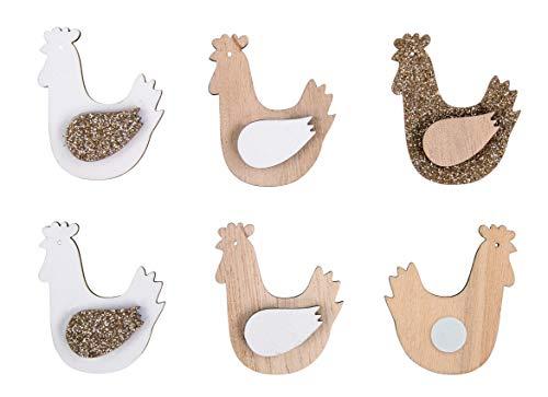 Rayher 46476000 Holz Streuteile Hennen, 3 x 4 cm, mit Klebepunkt, Beutel 12 Stück, für schnelle Oster- & Frühlingsdekorationen