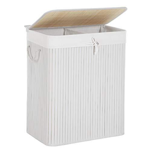SONGMICS Wäschekorb aus Bambus, Wäschesammler mit 2 Fächern, Wäschesortierer mit Deckel und herausnehmbarem Wäschesack, Tragegriffe aus Baumwolle, 100 L Wäschebox, Weiß LCB64WT