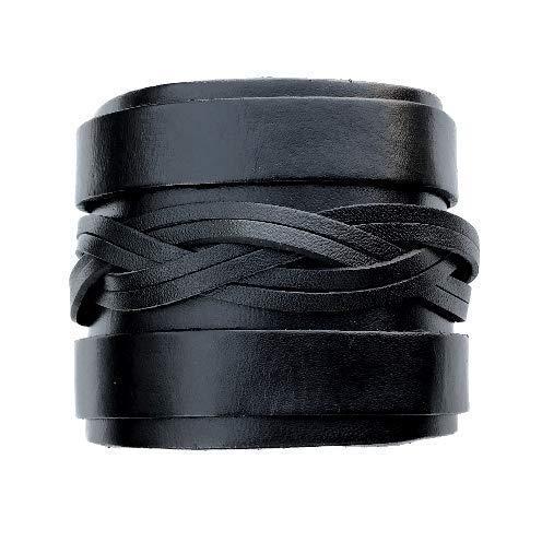 IriCor Leren armband breed, zwart, heren rok