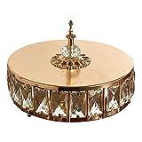 Generic Golden Silver Mirror Base Tray Kristall Vanity Ornate Tray mit Deckel - Gold