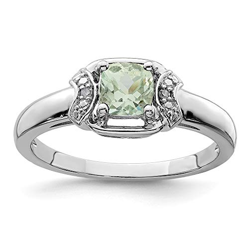 925 Sterling Silver Diamond Green Quartz Band Ring Size 8.00 Gemstone Fine Jewelry For Women Gifts For Her Amethyst Pink Sapphire Ring
