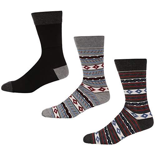 Ben Sherman Herren High Chaparral Socken, Mehrfarbig (Black/Grey Fairisle Pka), 7/10 (Herstellergröße: 7-11) (3er Pack)