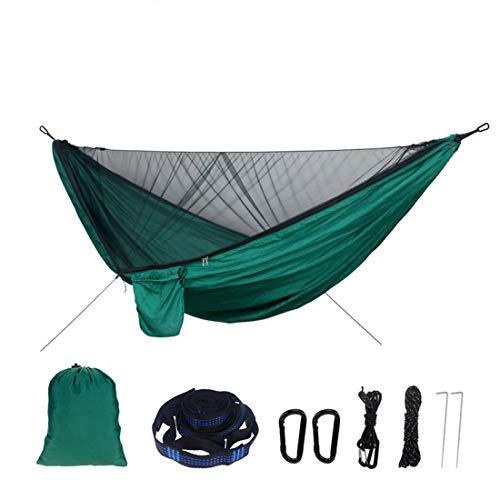Zhiyouni Double Bug Net Camping Hammock Nylon Camping & Outdoor Hammocks Tent-Backpacking - Bug Net, Tree Straps, Nails, Elastic Rope (Dark Green)