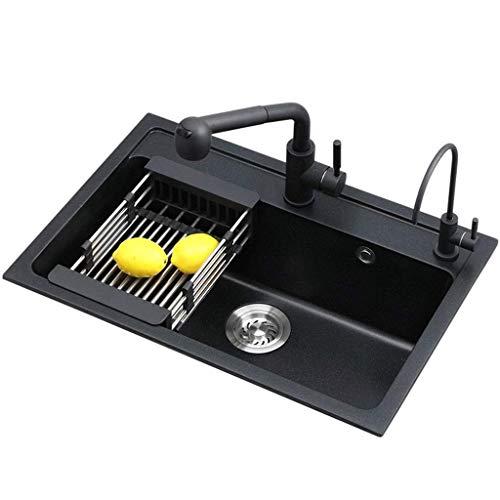 Pkfinrd Kitchen Sink Black Multifunctionele wastafel, dikke kwartssteen verdikte spoelbak, wastafel graniet zwembad 10.24 (grootte: 550X430cm)