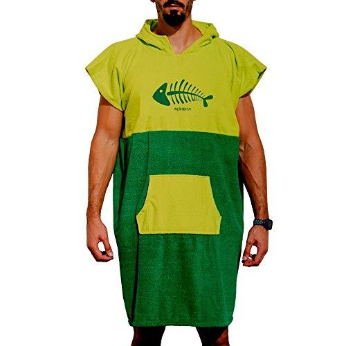 Nonbak Poncho Surf con Capucha y Bolsillo Poncho Toalla para cambiarse de Ropa Deportes Acuáticos Natación/Changing Robe M (Medium), Lima Fish