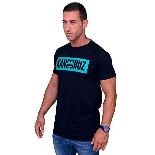 Kane Cruz - Brave Dobel Square Black Turquoise - Camiseta Manga Corta Hombre - Fabricada en España - Moda Urbana (L)