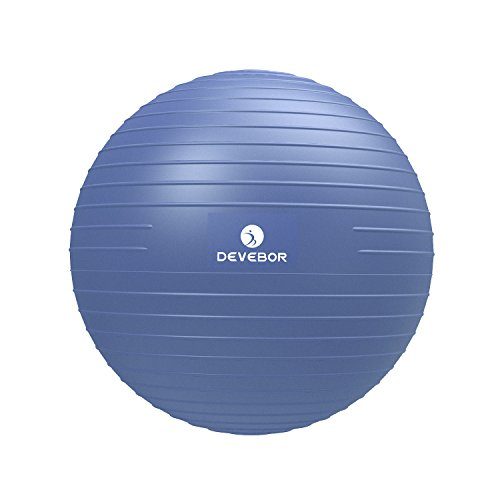 DEVEBOR Professional Grade Thick Exercise Ball(Chair),2,000 lbs Stability Ball,Anti-Burst and Slip Resistant,Yoga Balance Training ,55cm, 65cm, 75cm, Size Fitness Balls (Office & Home)