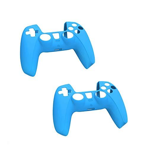 Ekrfxh Lot de 2 coques de protection en silicone souple pour manette de PS5 DualSense compatible avec station de charge officielle, bleu, S