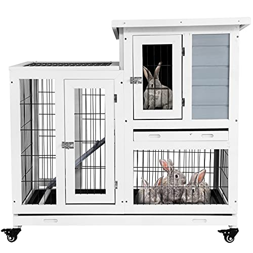 Aoxun Rabbit Hutch - Hutch Bunny Cage Pet House for Small Animals Guinea Pig with Ventilation Door Removable Tray Indoor/Outdoor Waterproof